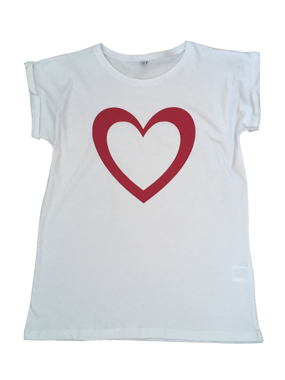 ADULT – White/pink Heart T-shirt – Small