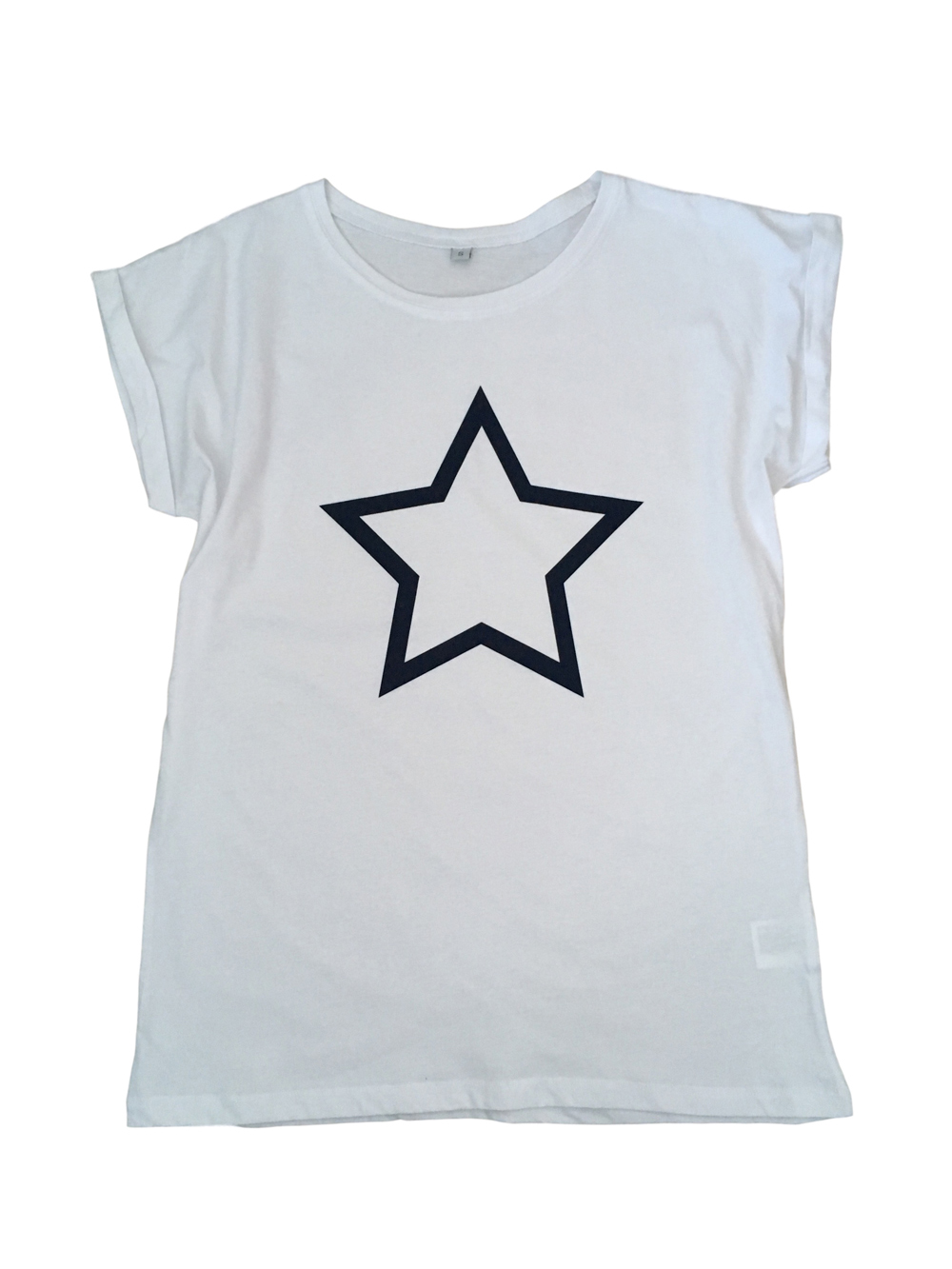 ADULT – White/navy Star T-shirt – Small