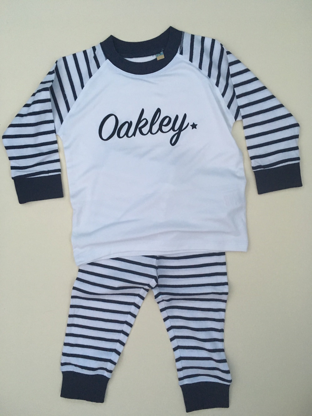 PERSONALISED Childrens Pyjamas – Blue Stripe