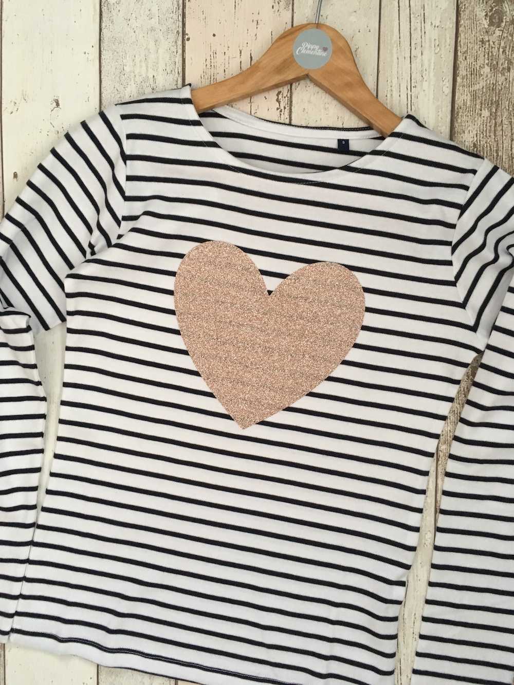 Rose Gold Glitter Heart Bretton Long Sleeve T-shirt