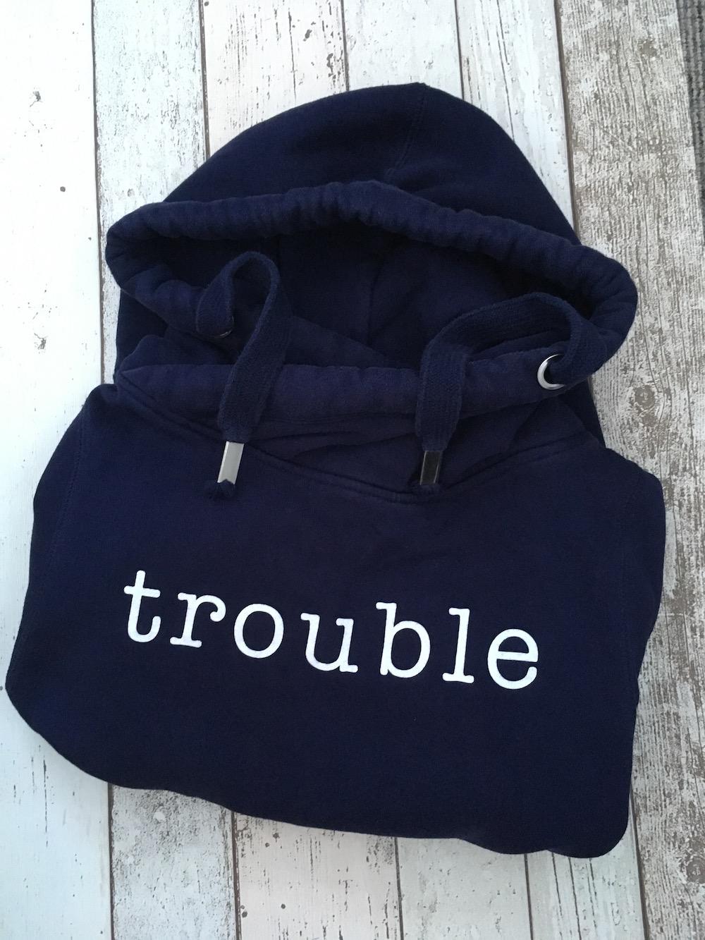 Slogan Cowl Neck Hoodie – Navy