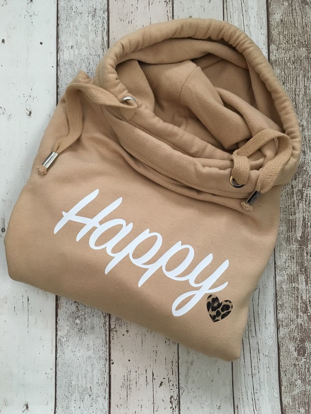 Happy Cowl Neck Womens Hoodie