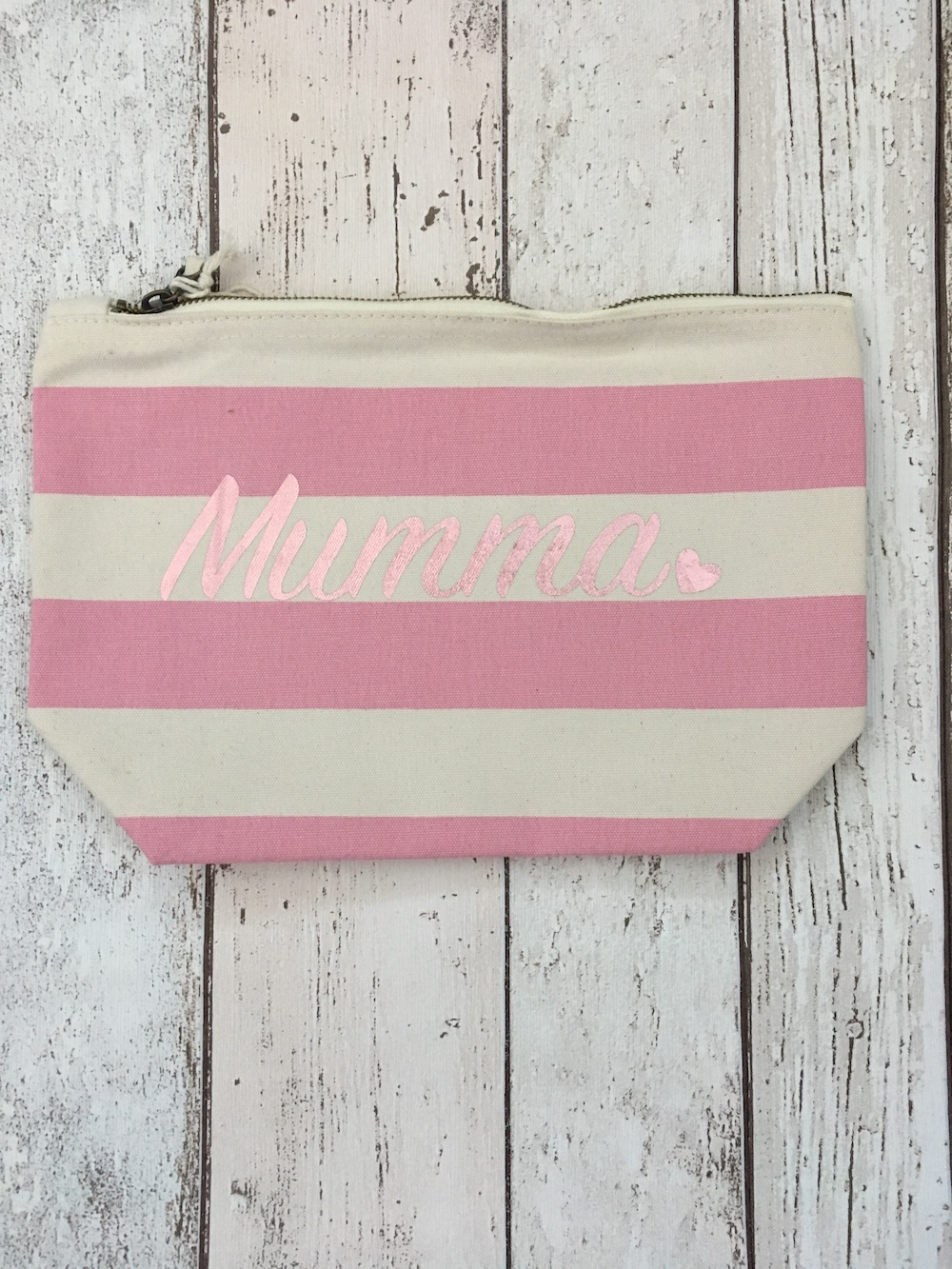 Pink Personalised Stripe Make Up Bag