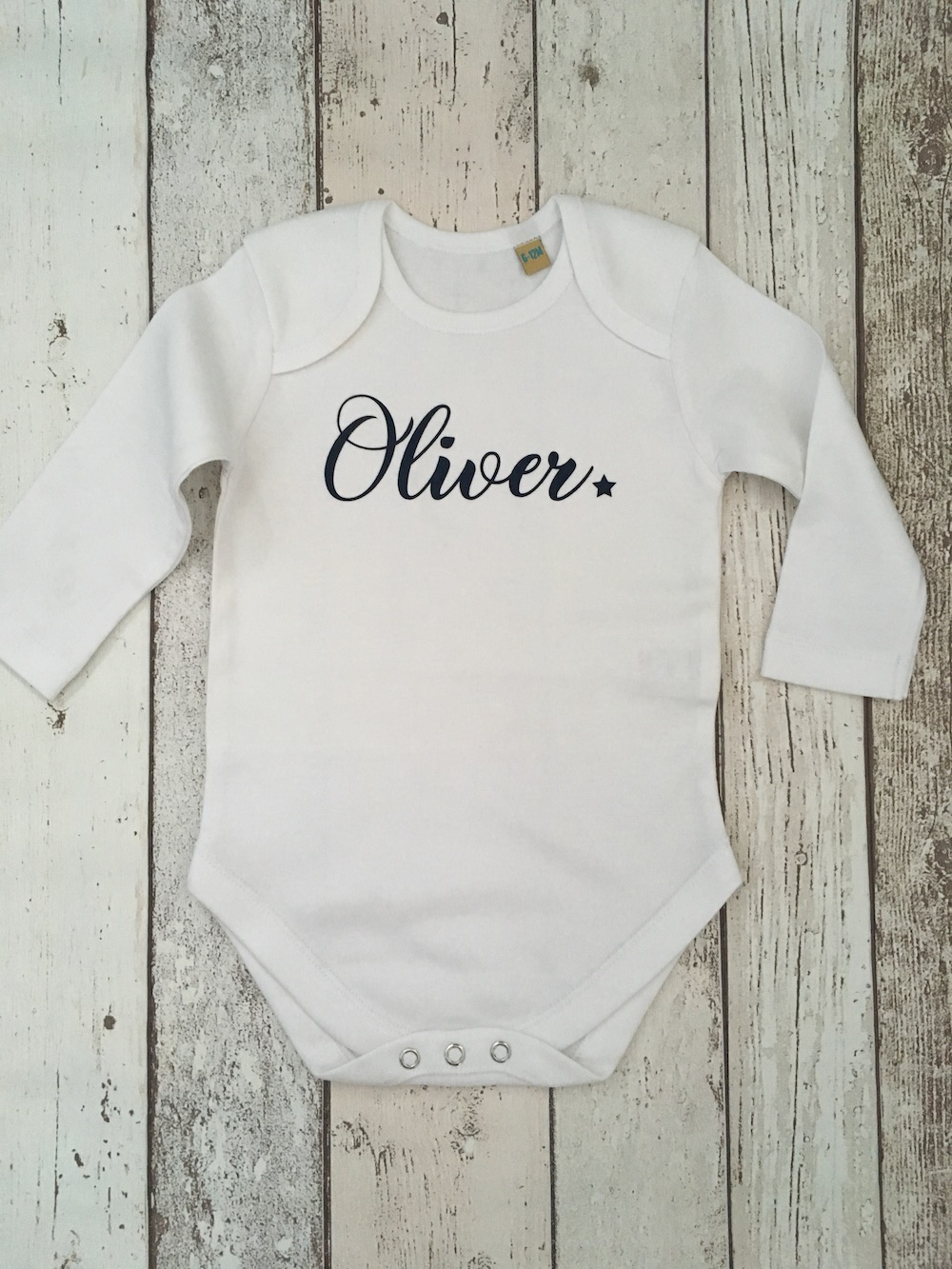 Baby Vest Long Sleeves – Blue Text