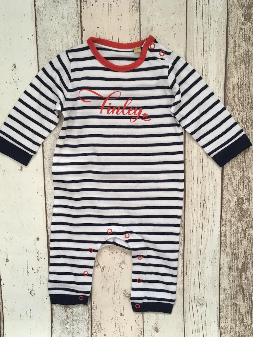 Baby Stripy Romper – Navy