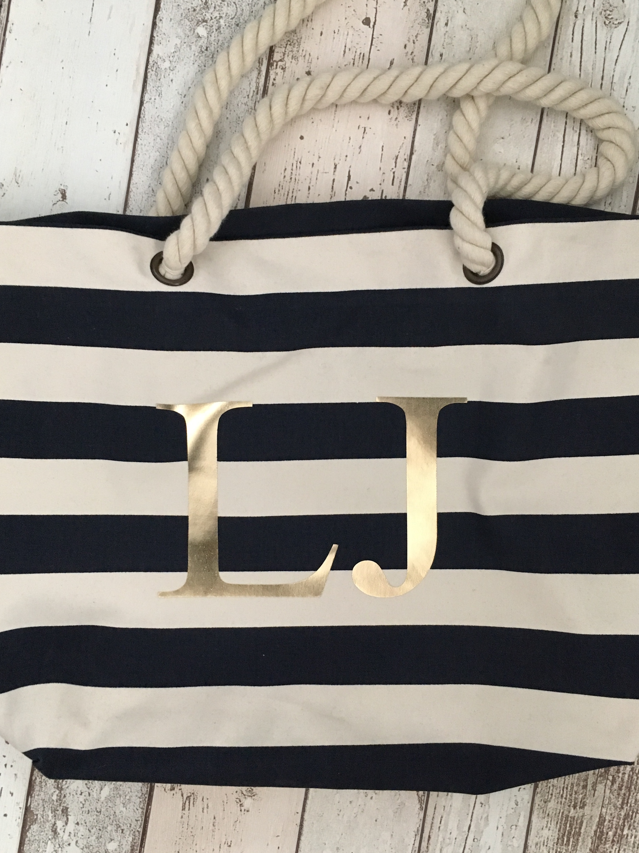 Blue Personalised Stripe Large Bag