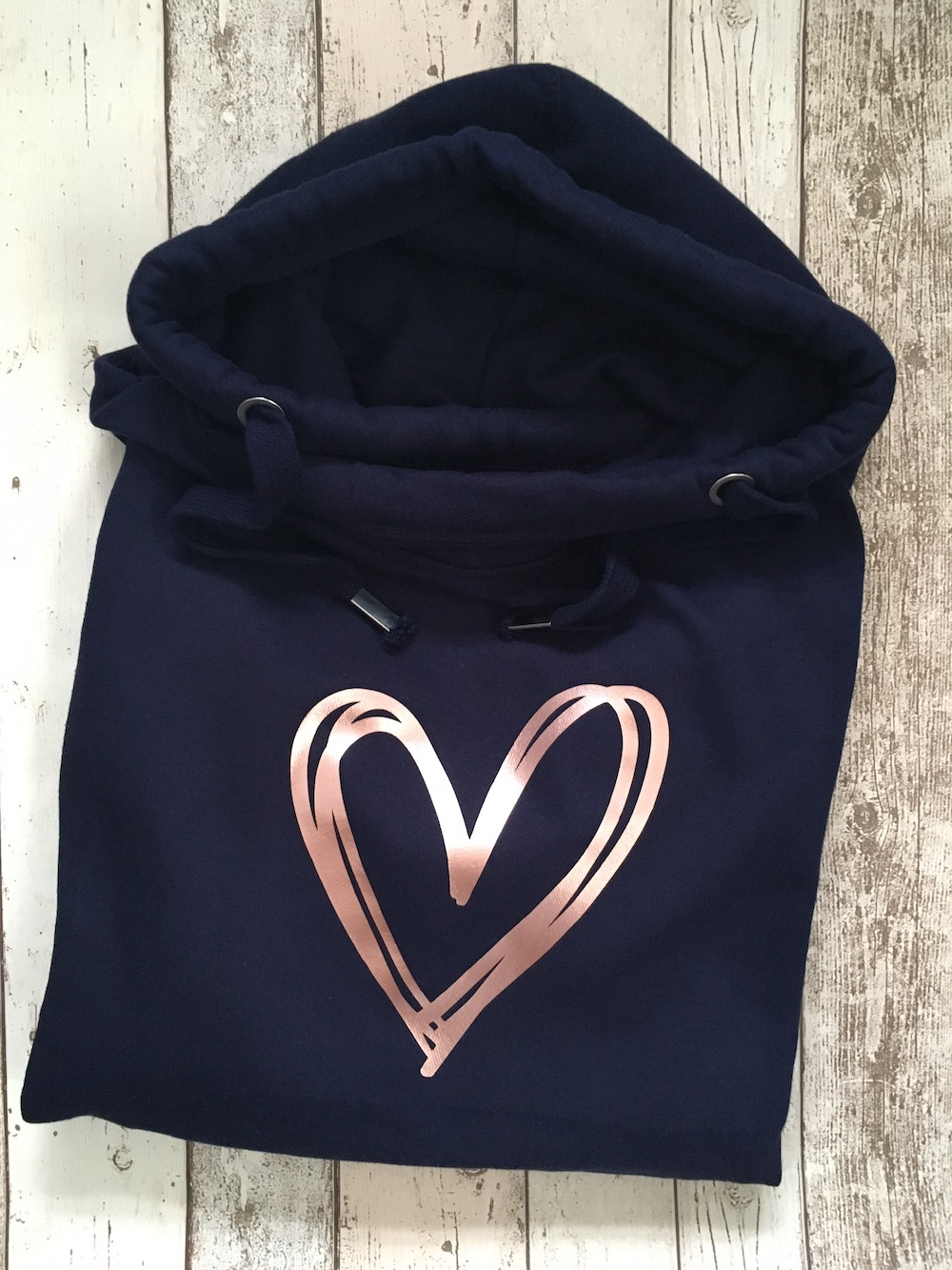 Scribble Heart Cowl Neck Womens Hoodie – Navy Rose Gold
