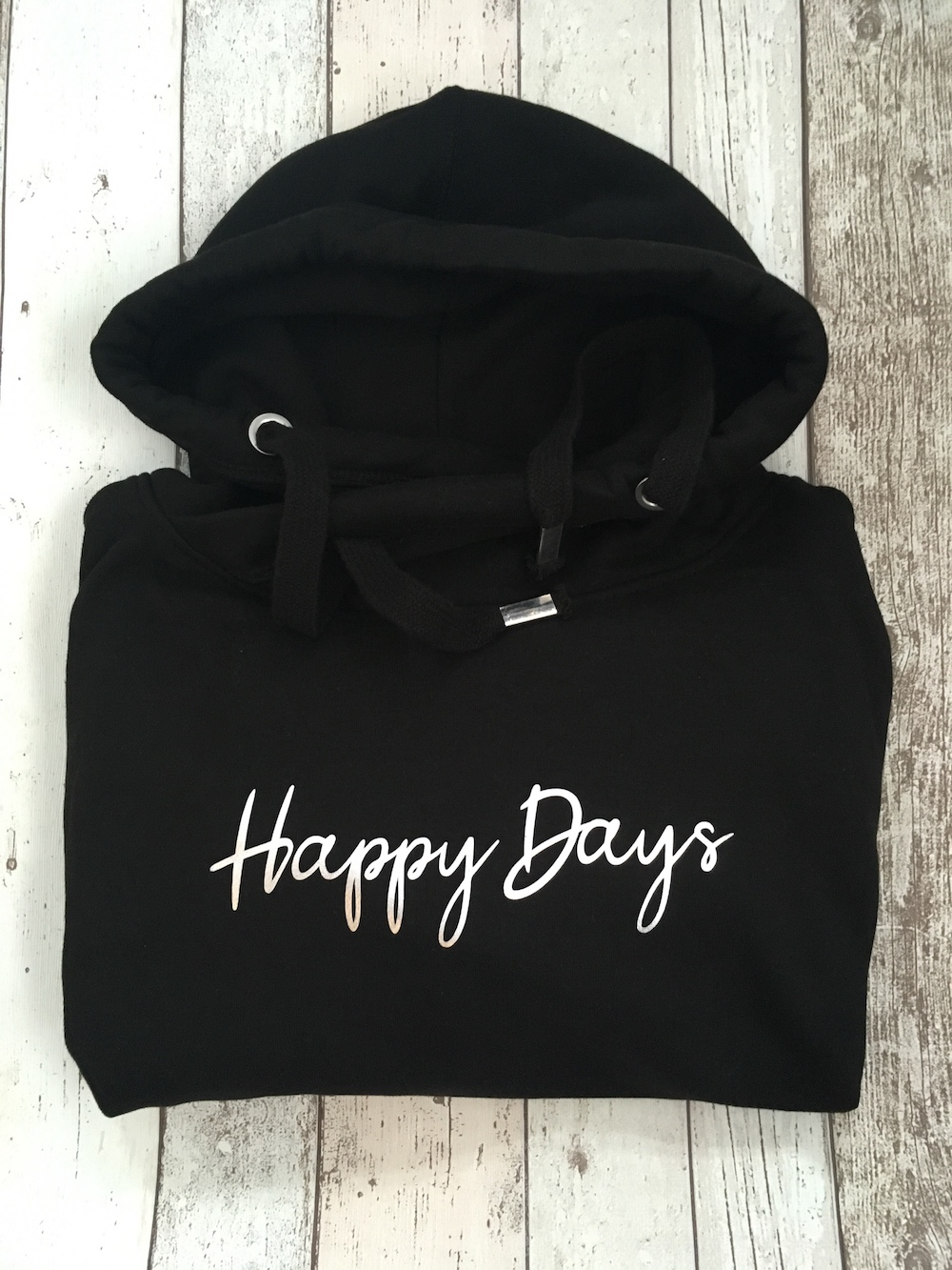 Happy Days Cowl Neck Womens Hoodie – Black