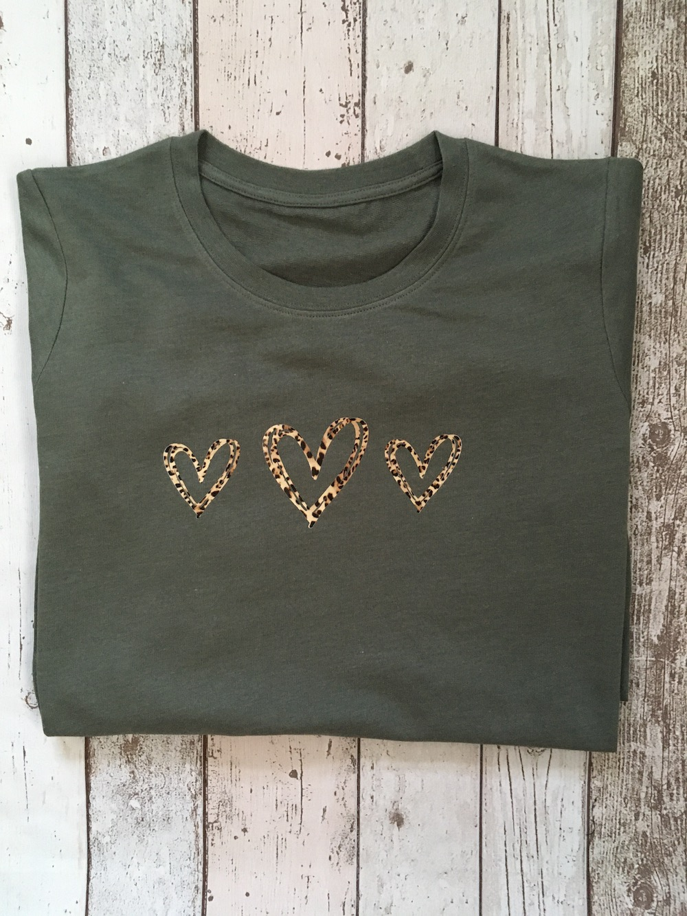 Leopard Triple Hearts Lightweight Jumper – Olive Green