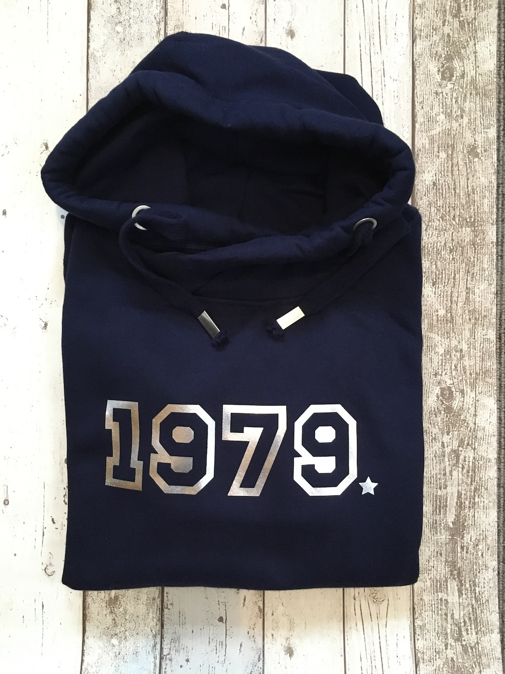 Year Cowl Neck Womens Hoodie – Navy