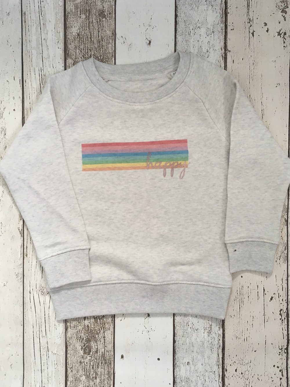 Happy Rainbow Super Soft Sweatshirt – Heather Cream