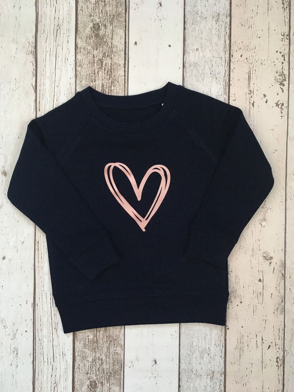 Signature Heart Super Soft Sweatshirt – Navy Rose Gold