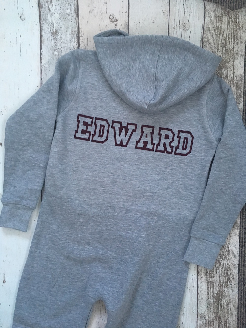 Personalised Onsie – Grey And Burgundy