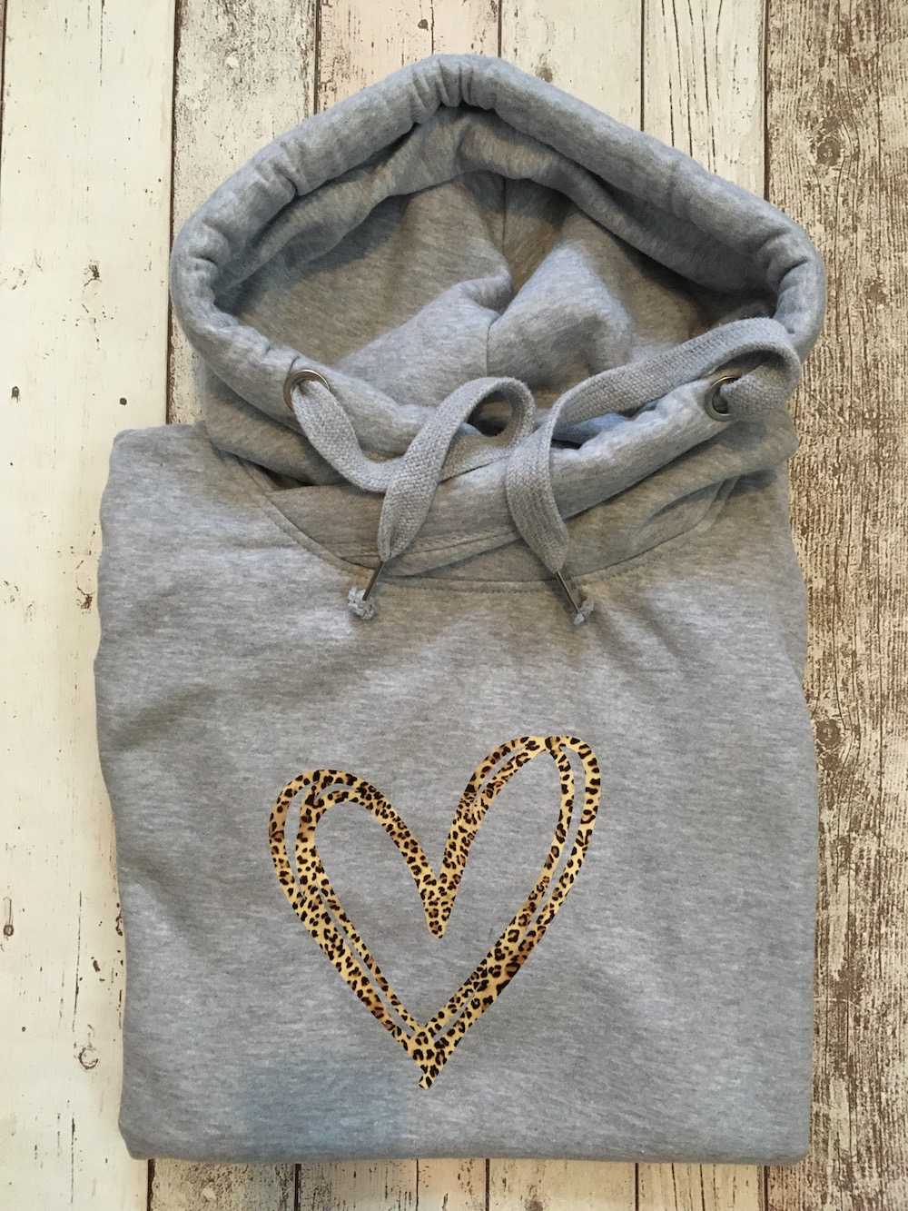 Leopard Heart Cowl Neck Womens Hoodie – Grey
