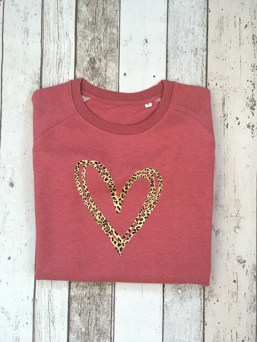 Scribble Heart Super Soft Sweatshirt – Cranberry Leopard Print