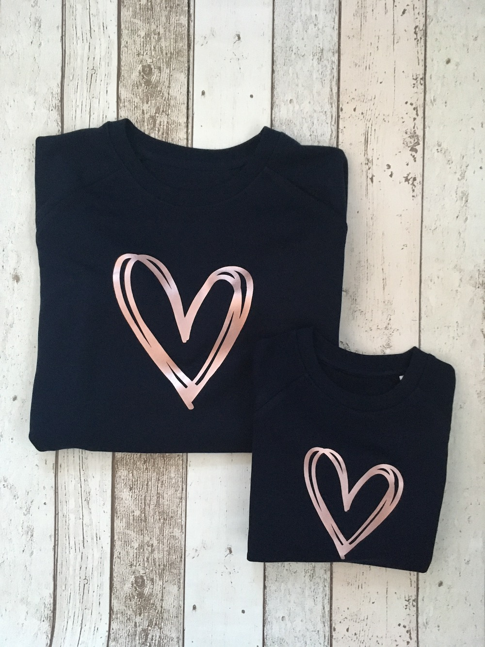 Scribble Heart Super Soft Sweatshirt Set – Navy And Rose Gold