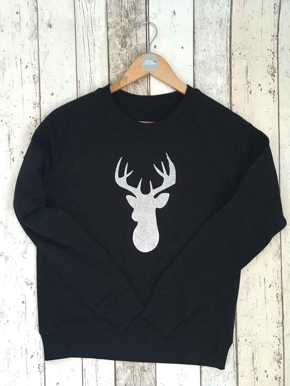 Stag Super Soft Sweatshirt – Black And Silver Glitter