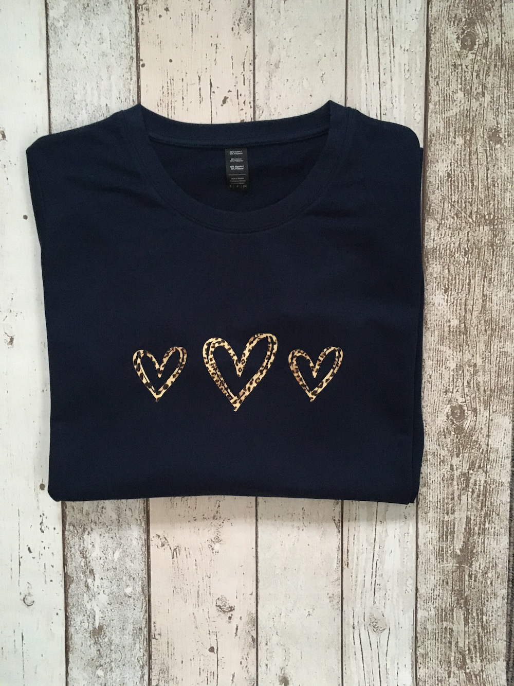 Leopard Triple Heart Lightweight Jumper – Navy