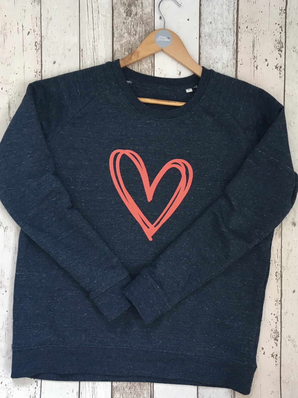 Scribble Heart Super Soft Slim Fit Sweatshirt -Heather Denim And Coral