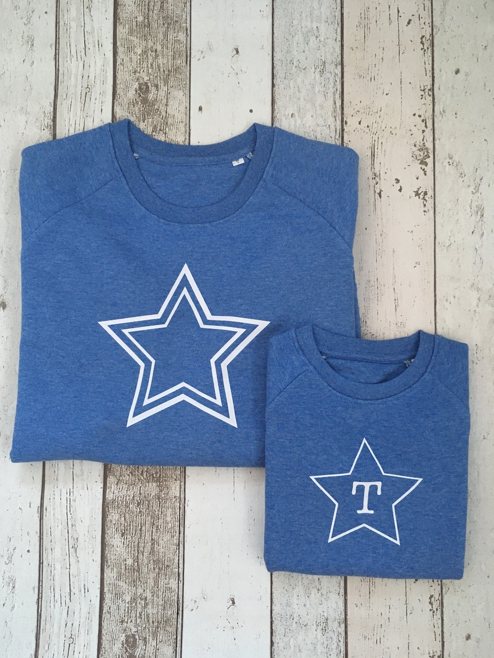 Star Super Soft Personalised Sweatshirt Set – Heather Blue