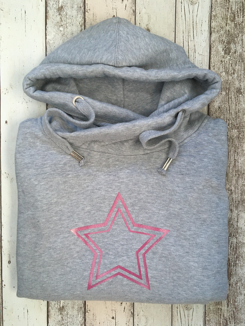 Double Star Cowl Neck Womens Hoodie – Grey