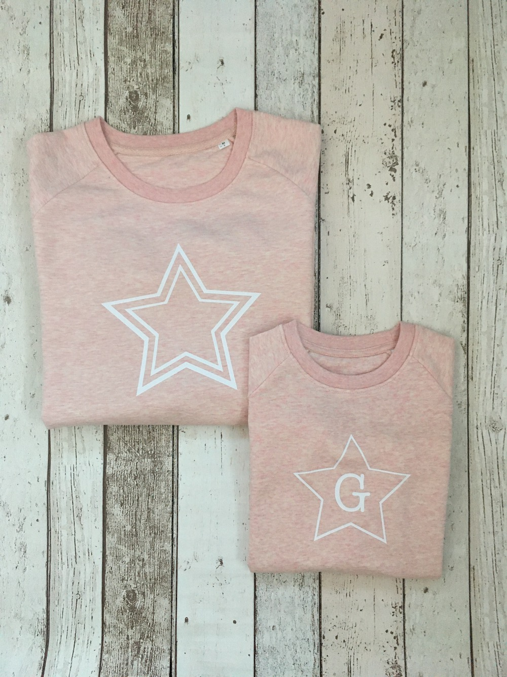 Star Super Soft Personalised Sweatshirt Set – Heather Pink