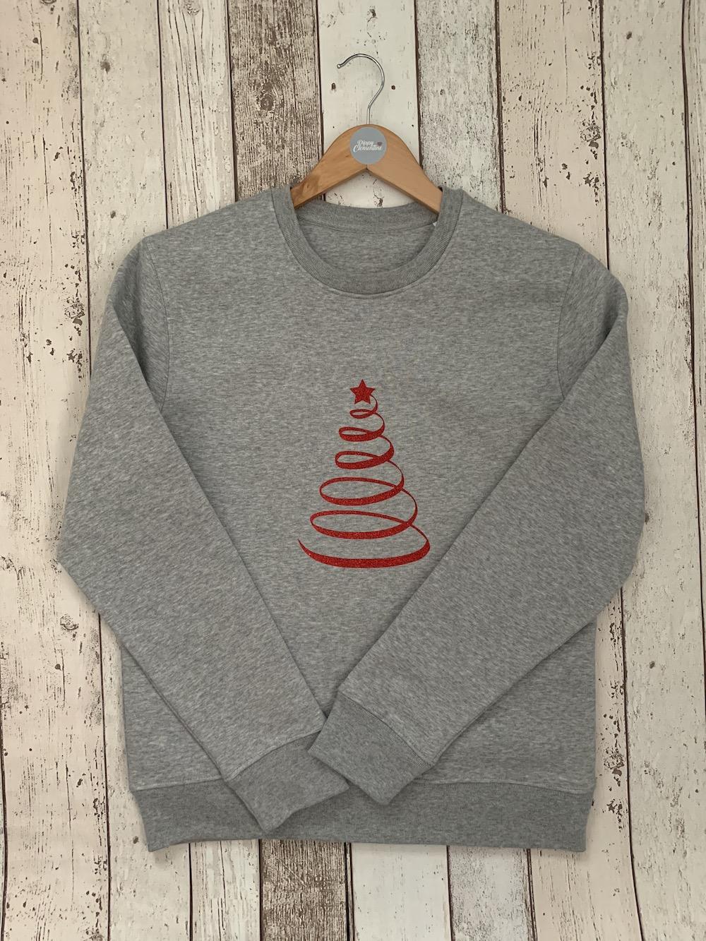 Christmas Tree Super Soft Sweatshirt – Grey Red Glitter