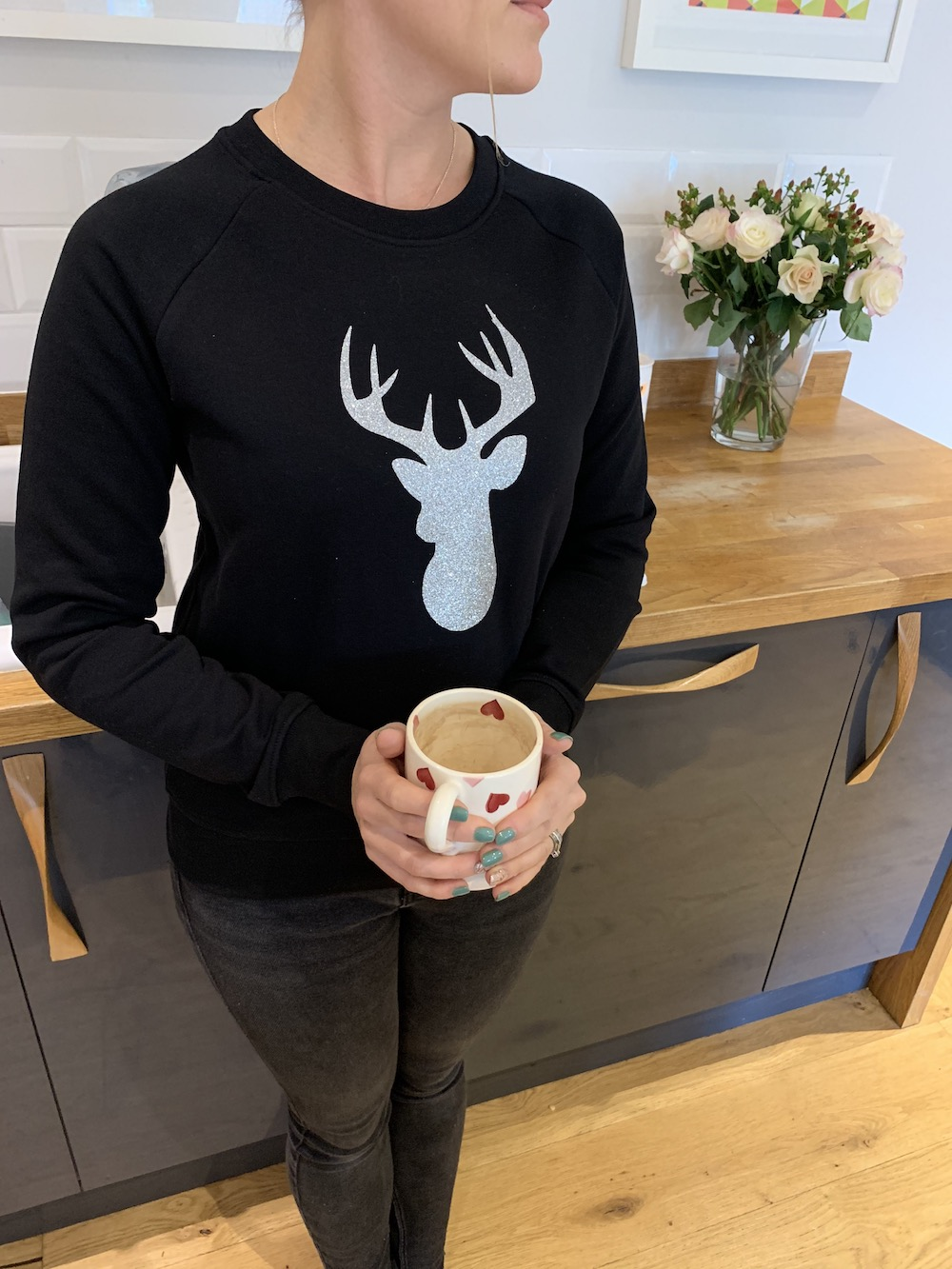 Christmas Stag Super Soft Slim Fit Sweatshirt – Black And Silver Glitter