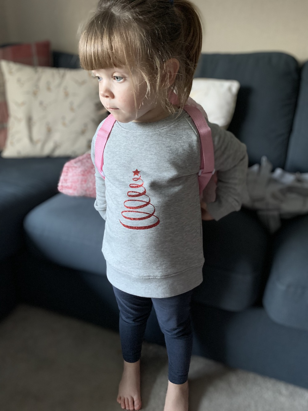 Christmas Tree Super Soft Sweatshirt – Grey And Red Glitter