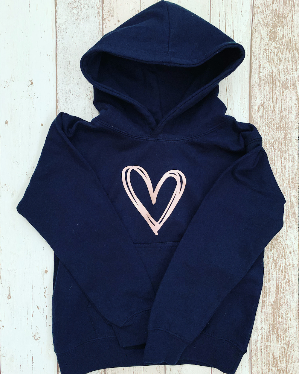 Signature Heart Hoodie – Navy Rose Gold