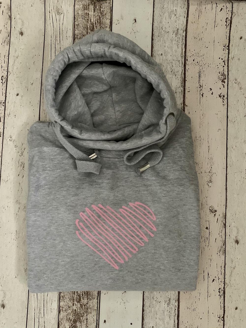 Scribble Heart Cowl Neck Hoodie – Grey