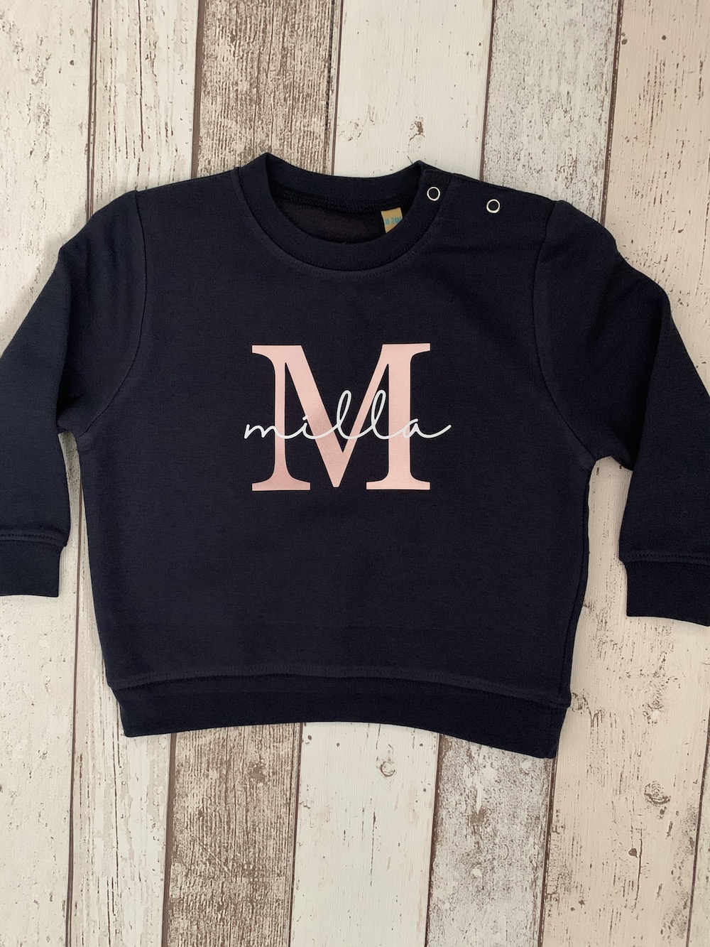 Pretty Initial Navy Sweatshirt – Toddler Size