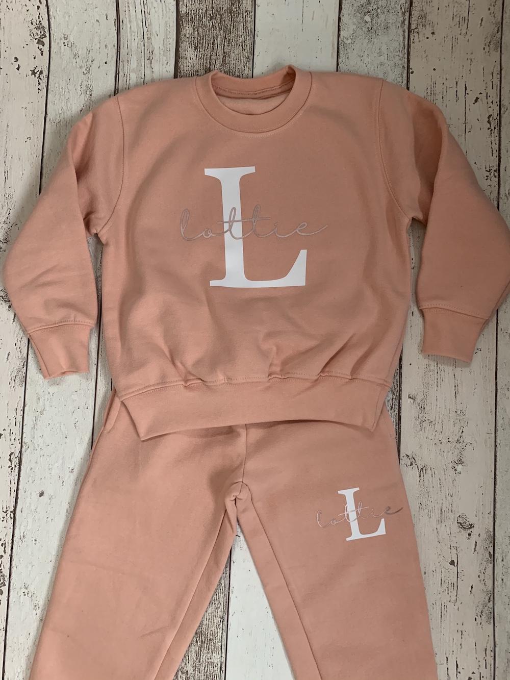 Large Initial Lounge Suit – Dusky Pink