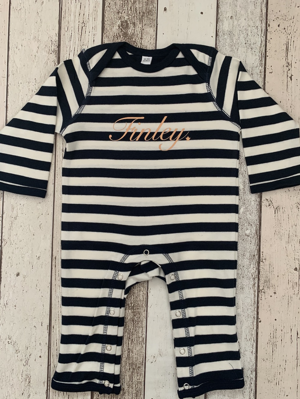 Personalised Stripy Romper Suit – Navy
