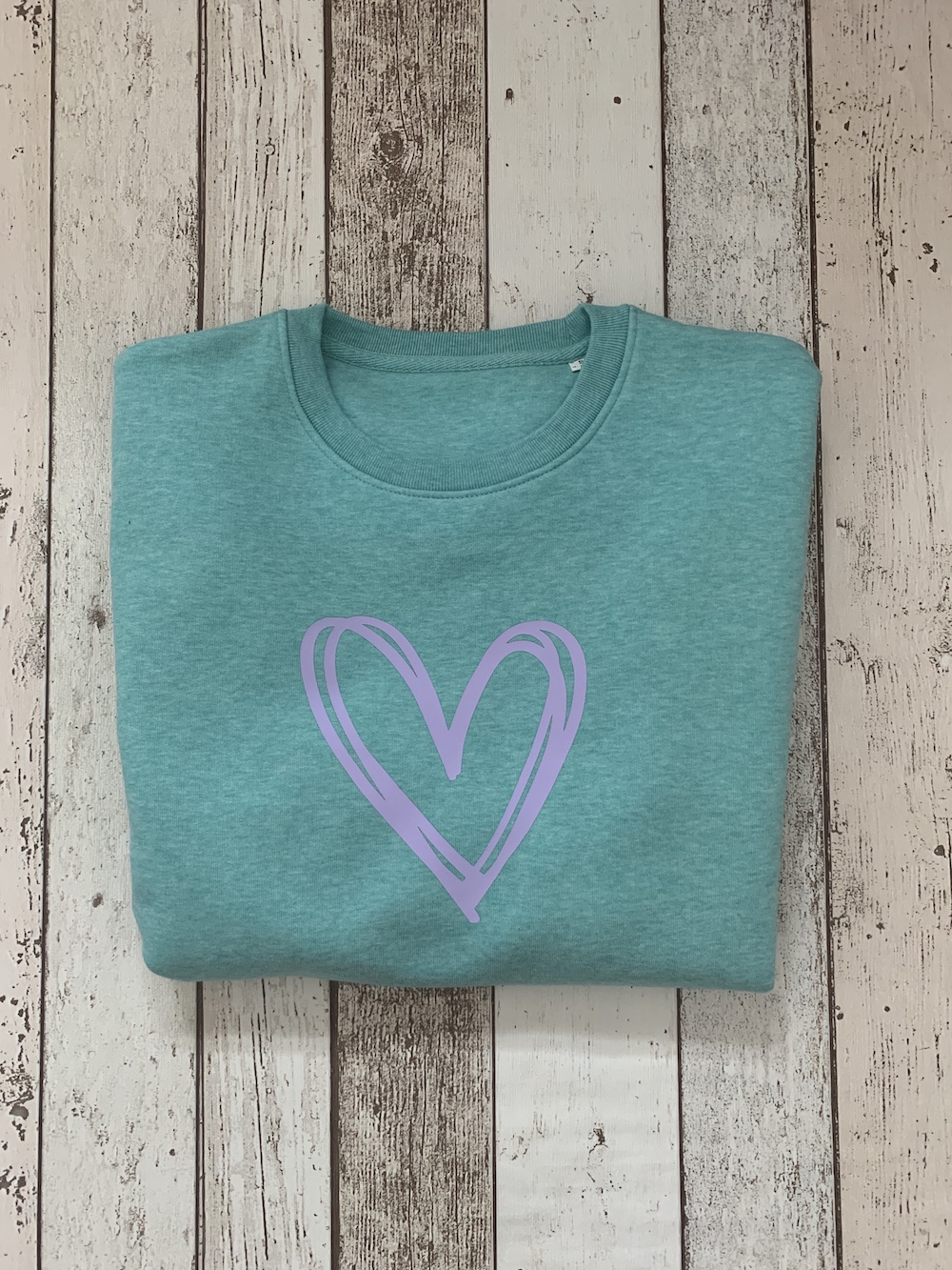 Signature Heart Loose Fit Sweatshirt – Mint And Lilac