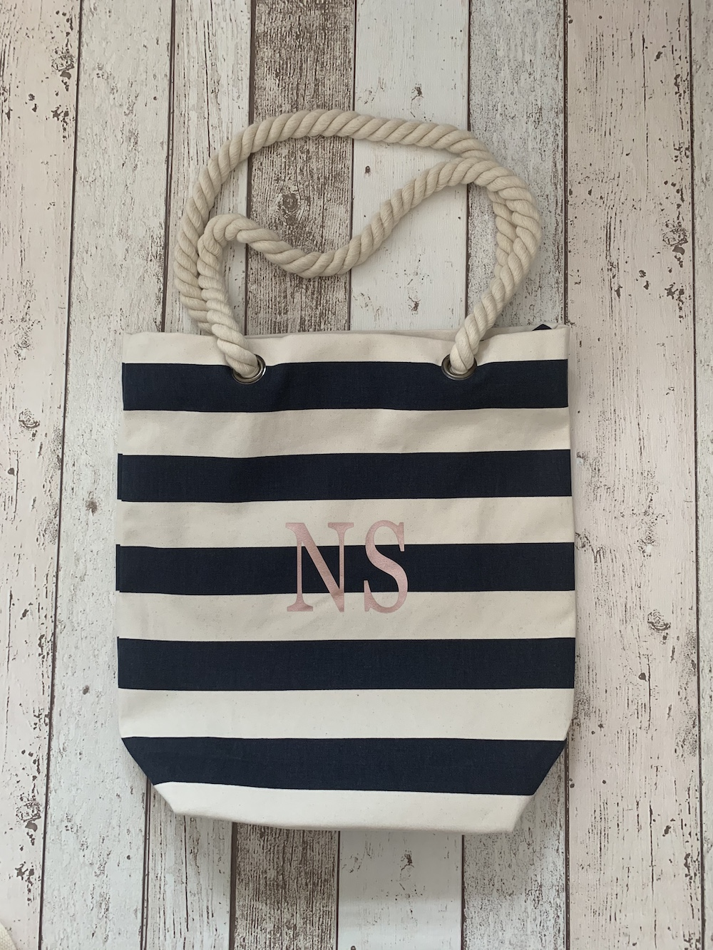 Initial Personalised Stripe Bag – Navy And White