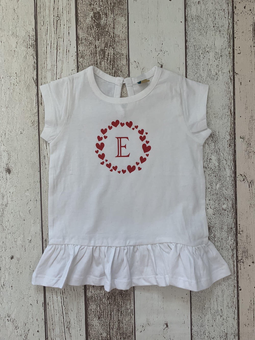 Personalised Frill Longline Tshirt – Red Hearts
