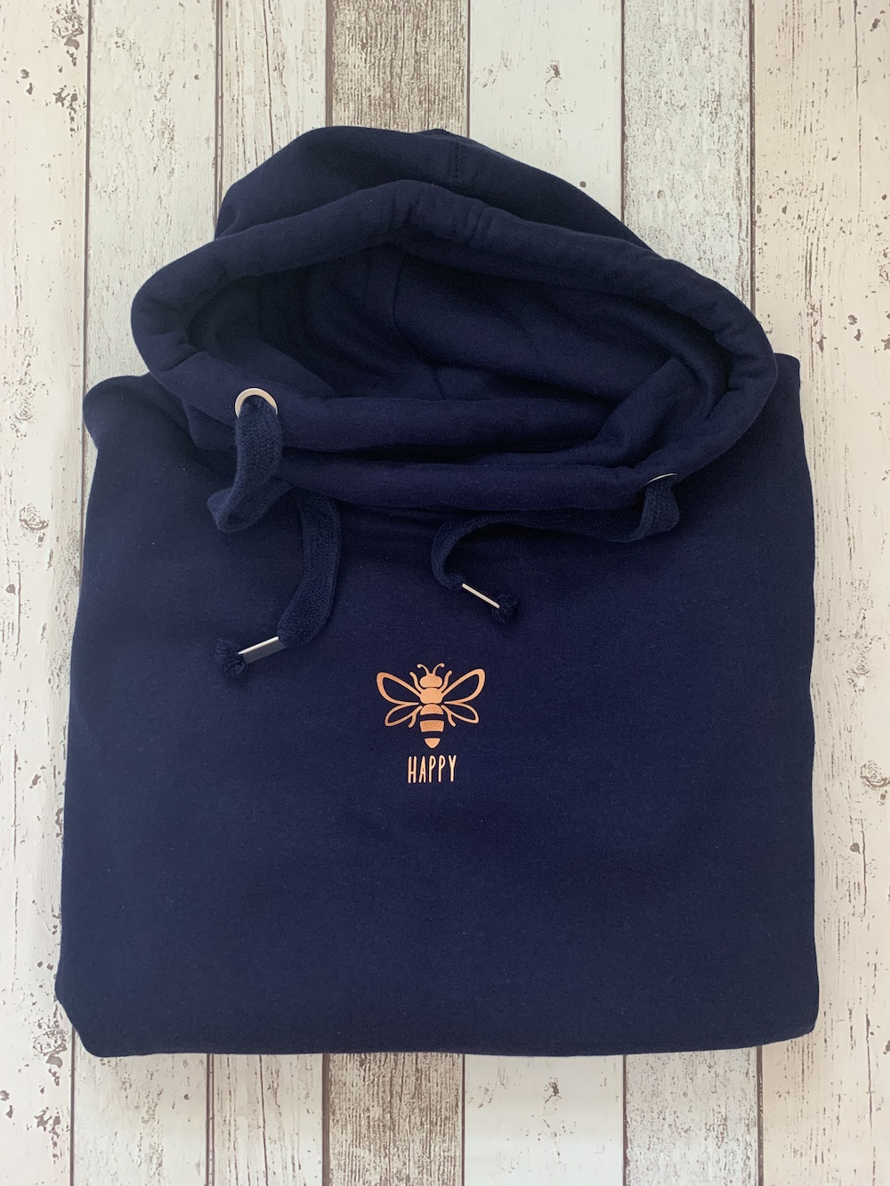 Bee Happy Cowl Neck Womens Hoodie – Navy And Copper