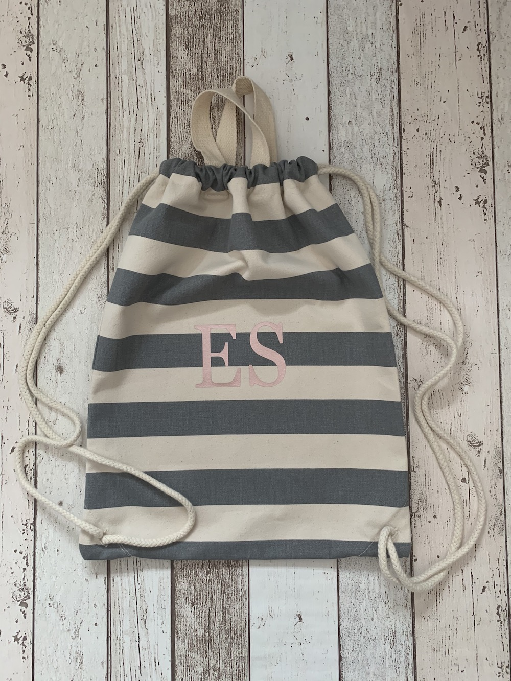 Initial Personalised Stripe Drawstring Bag – Grey And White