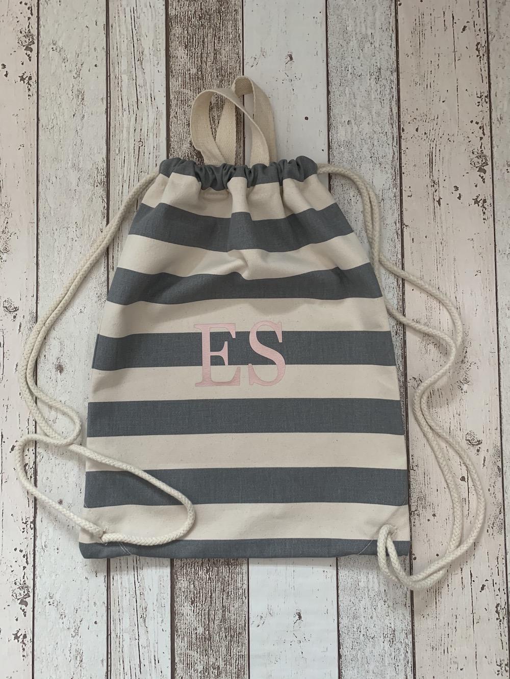 Initial Personalised Stripe Drawstring Bag – Grey And White