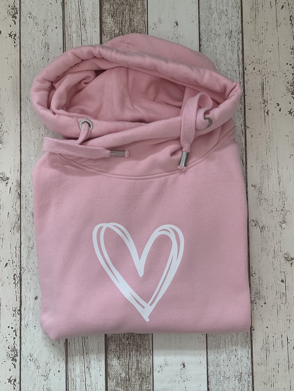 Signature Heart Cowl Neck Womens Hoodie – Pink And White