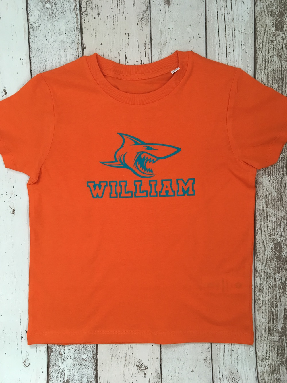 Shark Personalised Tshirt – Orange And Teal