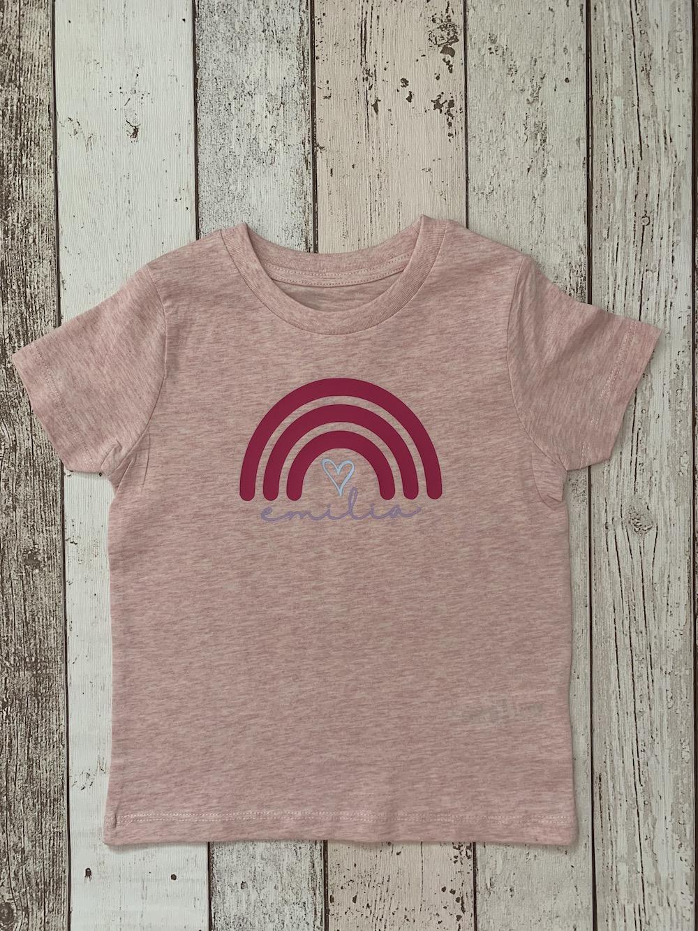 Rainbow Personalised Tshirt – Pink