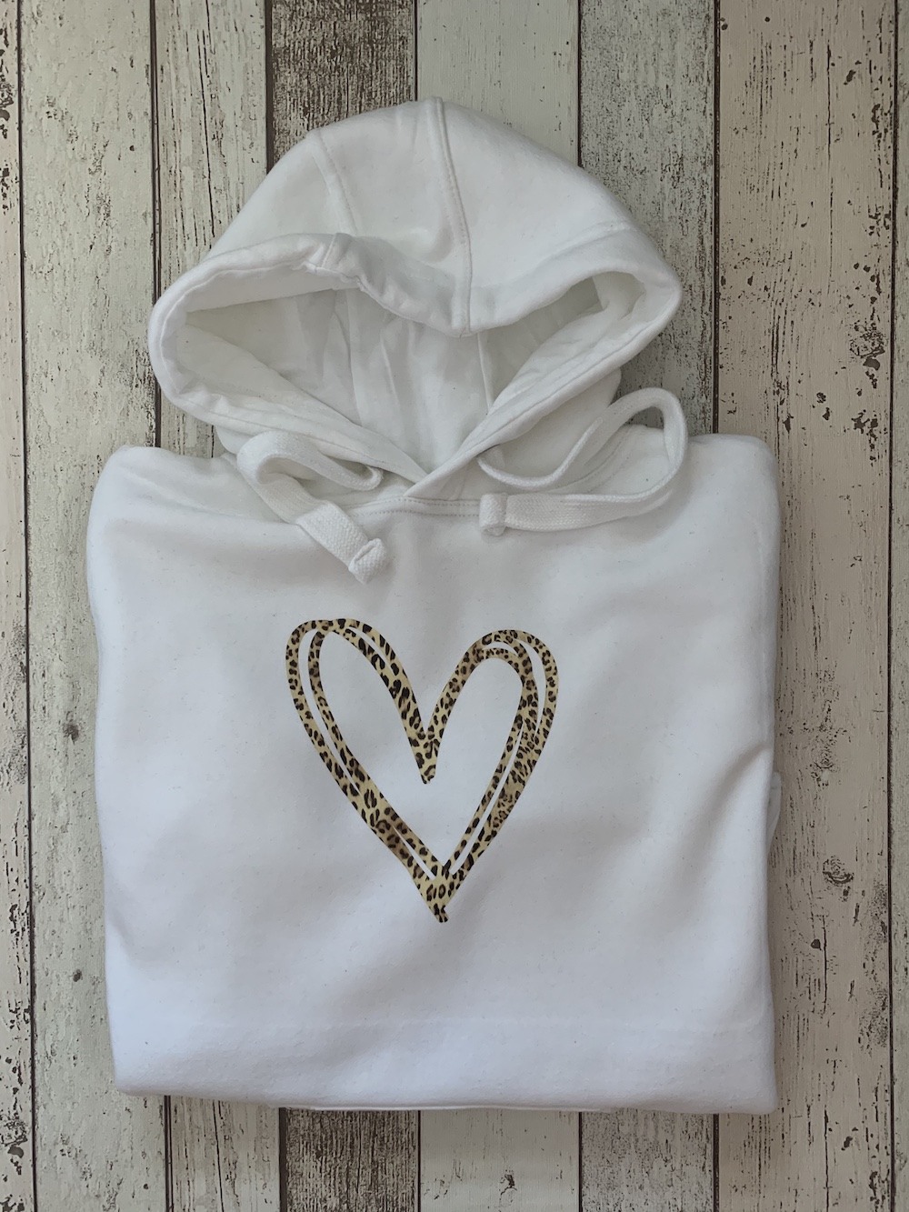Signature Heart Hoodie – White And Leopard Print