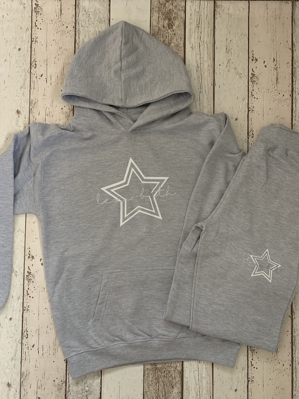 Children's Personalised Hoodie Tracksuit – Grey With White Star