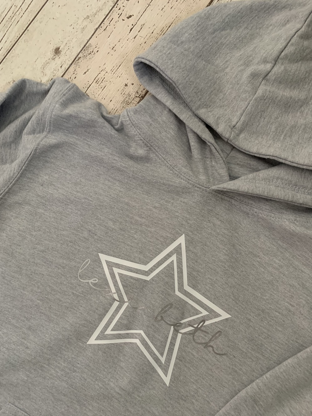 Star Personalised Hoodie – Grey And White