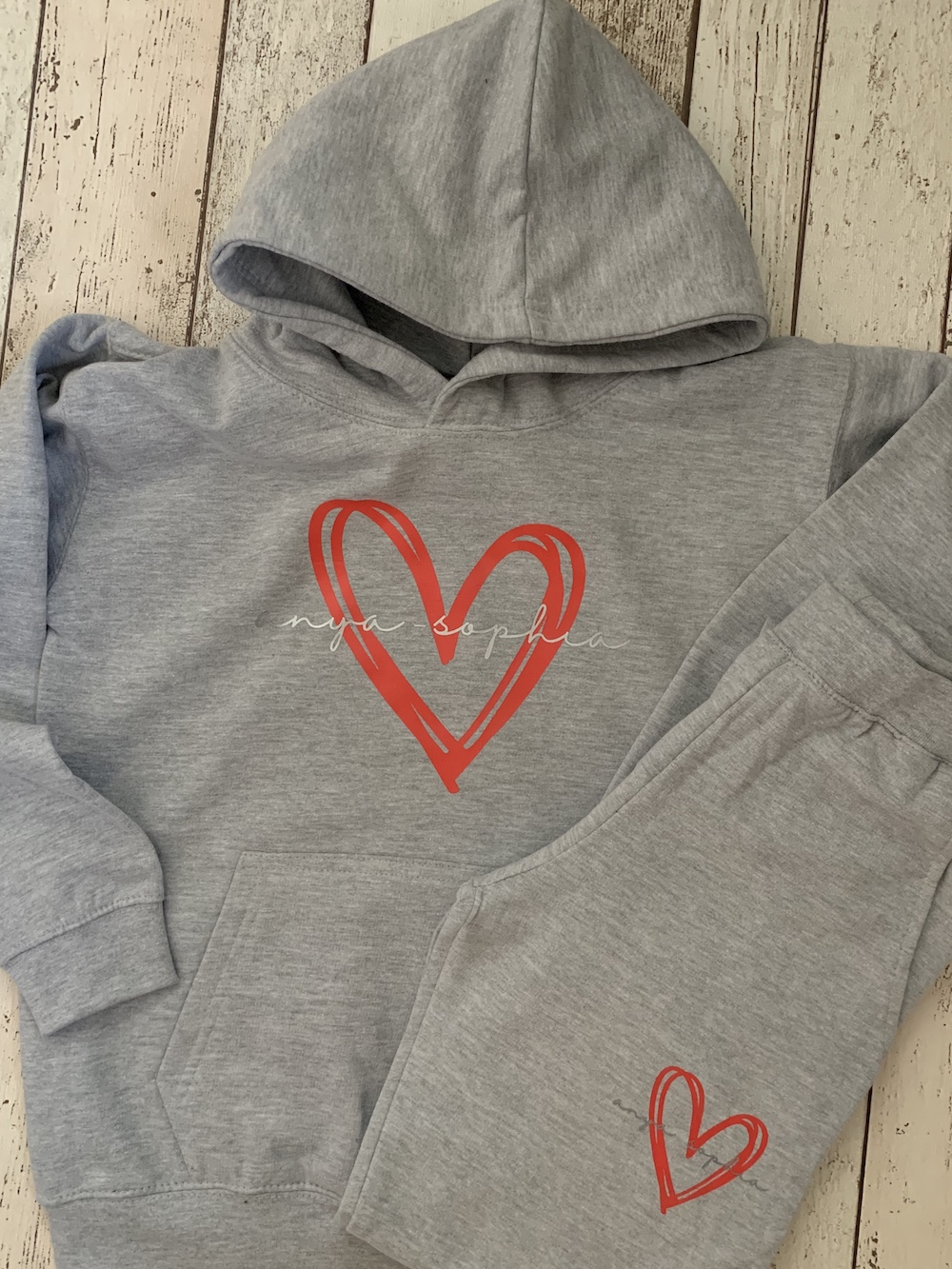 Children's Personalised Hoodie Tracksuit – Grey With Signature Heart