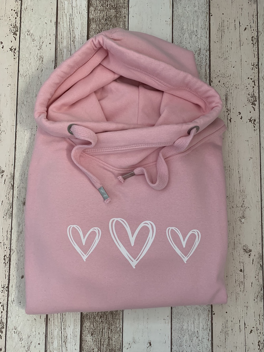 Signature Triple Heart Cowl Neck Womens Hoodie – Pink And White