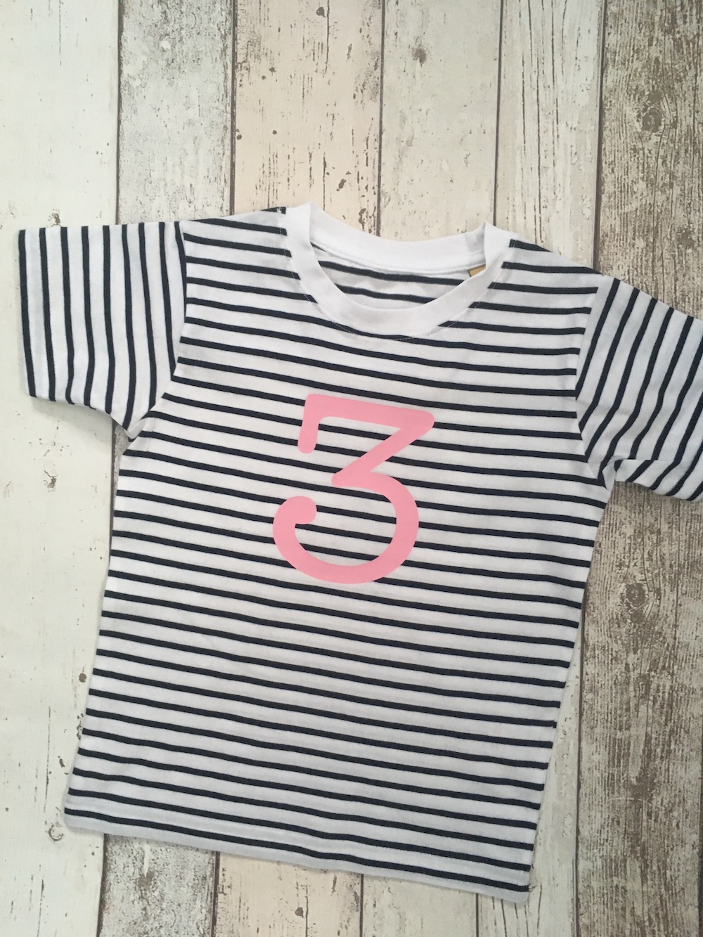 Number 3 Stripe Birthday T-shirt