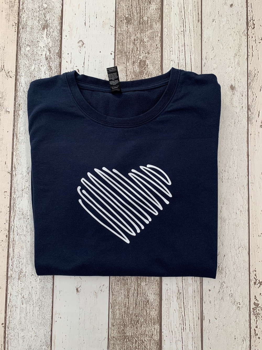 Scribble Heart Boyfriend Fit Sweatshirt – Navy And White